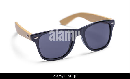 Black Sunglasses with Wood Arms Isolated on White Background. - Stock Image