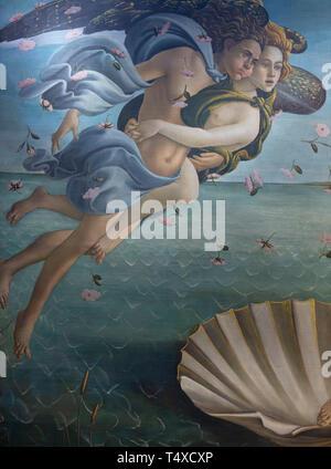 Zephyr and Aura, Birth of Venus, detail, Sandro Botticelli, circa 1485, Galleria degli Uffizi, Uffizi Gallery, Florence, Tuscany, Italy - Stock Image