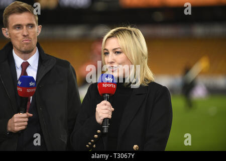 Sky Sports presenter Kelly Cates with Darren Fletcher - Stock Image