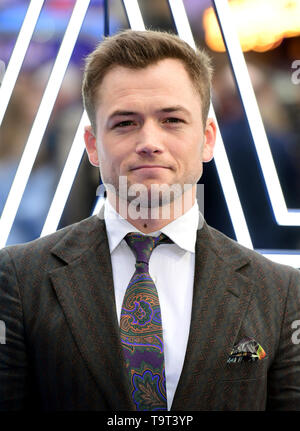 Taron Egerton attending the Rocketman UK Premiere, at the Odeon Luxe, Leicester Square, London. - Stock Image
