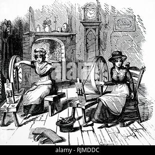 Illustration showing Hand spinning, carding and roving. The wire 'cards' or 'combs' are in the left foreground. 1848 - Stock Image