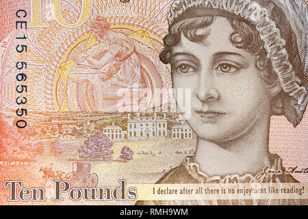Close up detail of a Jane Austen ten pound note, UK. - Stock Image