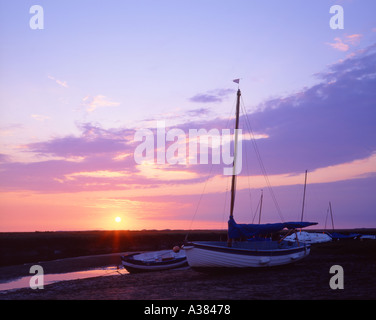 Sunset and yachts at Blakeney North Norfolk UK Coast UK - Stock Image