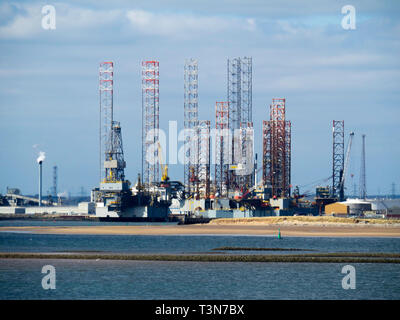 Jack Up drilling rigs at the TERRC Hartlepool  facility on the river Tees for storage  and repair - Stock Image