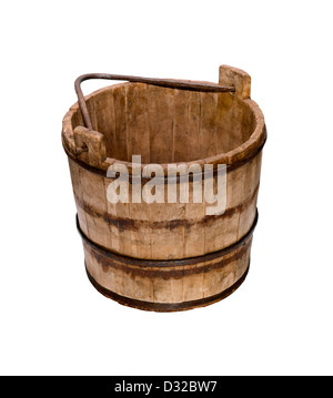 An old fashioned wooden bucket or pail with its handle down - Stock Image