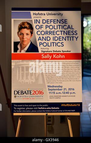 Hempstead, New York, USA. September 13, 2016. Poster is on display in lobby for event with SALLY KOHN - CNN progressive - Stock Image