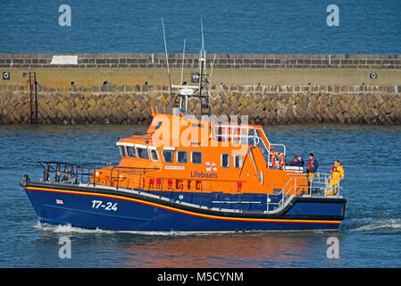 The Aberdeen RNLI BON CCCORD SEVERN Class Lifeboat returning to its home port from the North Sea. - Stock Image