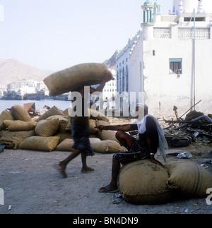 Traditional waterfront scene Mukalla Yemen - Stock Image