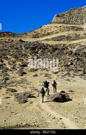 Trekkers climbing a hill near Syangbochen, Upper Mustang  region, Nepal. - Stock Image