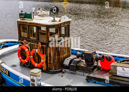 The wooden fishing vessel Rachel Douglas, built in 1947 to operate from Seahouses, now owned by the North East Maritime Trust and moored on the Tyne. - Stock Image