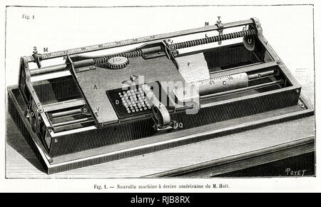 An early form of inexpensive, portable typewriter by Hall, USA. - Stock Image