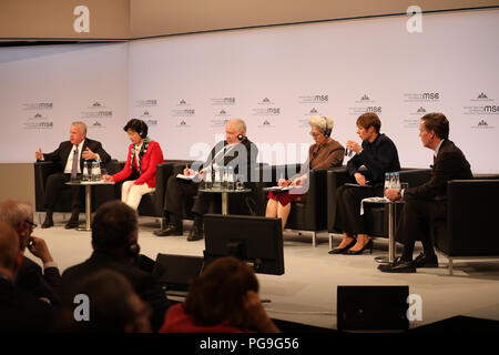 Deputy Secretary of State John Sullivan, (L to R)  Minjoo Party Chair of Korea Choo Mi-ae, Russian Federation Council Foreign Affairs Committee Deputy Chair Sergey Kislyak, Chinese Foreign Affairs Committee Chair of China Fu Ying, Estonian President Kersti Kaljulaid, and Former U.S. Undersecretary of State Nicholas Burns participate in the Nuclear Security and Arms Control Panel at the Munich Security Conference in Munich, Germany on February 17, 2018. - Stock Image