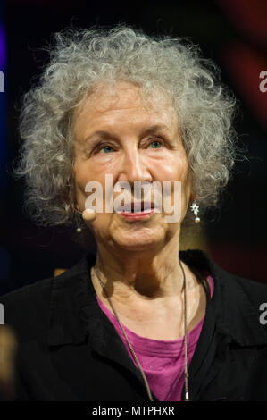 Margaret Atwood speaking on stage in the Tata Tent at Hay Festival 2018 Hay-on-Wye Powys Wales UK - Stock Image