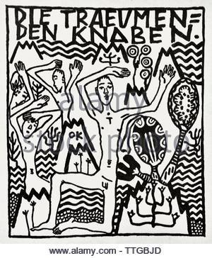 Die Traubende Knaben  by Oskar Kokoschka born 1886 Austria Austrian (expressionistic portraits and landscapes) - Stock Image