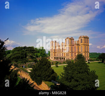 Hardwick Hall in golden evening light, near Chesterfield,   Derbyshire, England, UK - Stock Image