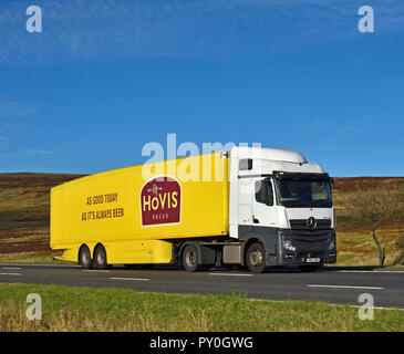 Hovis Bread 'As good today as it's always been' HGV. M6 Motorway Southbound carriageway, Shap, Cumbria, England, United Kingdom, Europe. - Stock Image