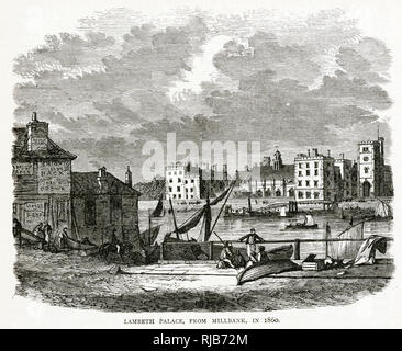 A view of Lambeth Palace across the River Thames. - Stock Image