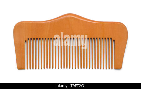 Wood Hand Comb Isolated on White Background. - Stock Image