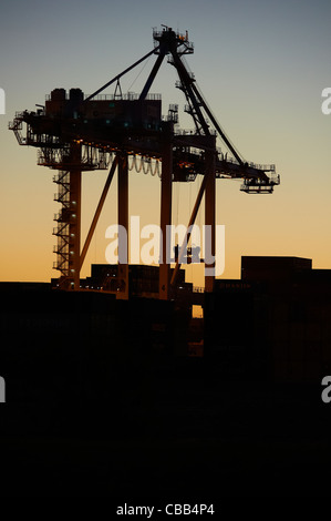 Silhoutted shipping container crane - Stock Image