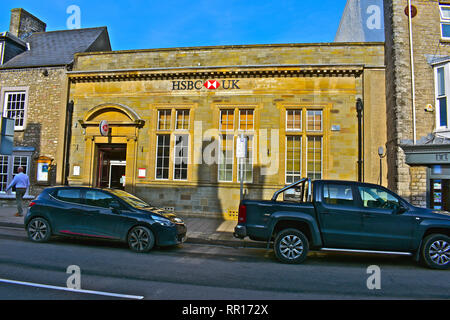 HSBC Bank maintaining a High Street presence in the affluent rural market town of Cowbridge, Vale of Glamorgan,South Wales - Stock Image