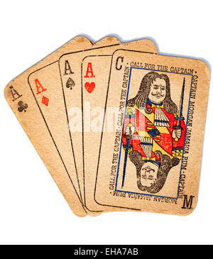 Vintage Beermat in the shape of Playing Cards Advertising Captain Morgan Rum - Stock Image