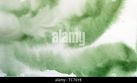 Abstract watercolor painting. Textured background. Drips and gradient fills of green paint on canvas. - Stock Image