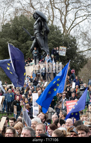 Marcher's with EU flags in front of Achille's Statue, People's Vote March, London, England - Stock Image