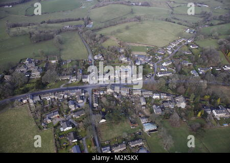 An aerial view of the North Yorkshire Village of Thornton-in-Craven - Stock Image