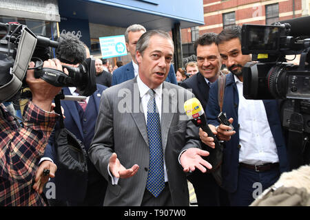 Brexit Party leader Nigel Farage during a walkabout in Merthyr Tydfil, Wales. - Stock Image