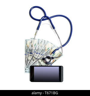 Stethoscope on dollar bills and mobile phone with empty mockup screen for your image over white background - Stock Image