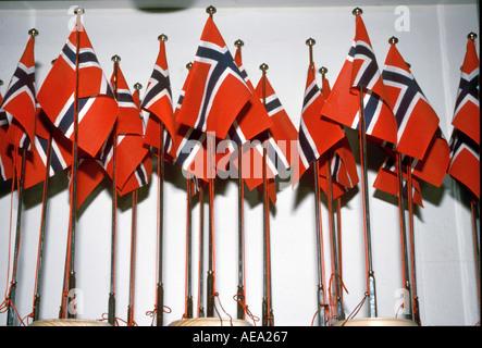 Norwegian flags in exhibition in shop - Stock Image
