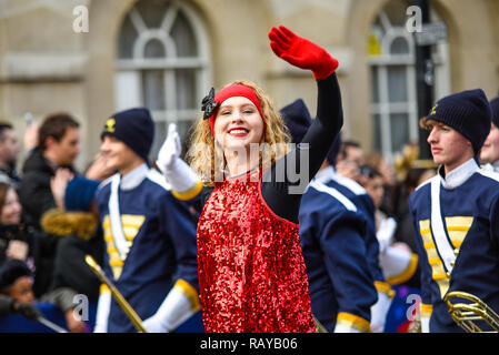 Walker Valley High School Mustang Band and Choir from Tennessee, USA at London's New Year's Day Parade 2019 in London, UK - Stock Image