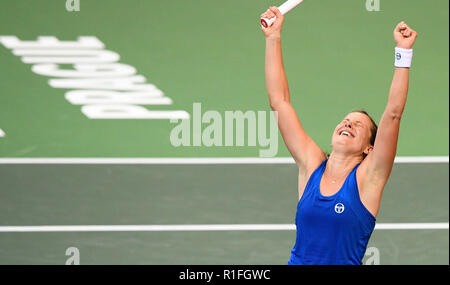 Prague, Czech Republic. 10th Nov, 2018. Czech tennis player Barbora Strycova celebrates her win against US tennis player Sofia Kenin (not seen) during the 2018 Fed Cup final match between Czech Republic and USA, rubber 1, singles, at the O2 arena in Prague, Czech Republic, on November 10, 2018. Credit: Michal Kamaryt/CTK Photo/Alamy Live News - Stock Image