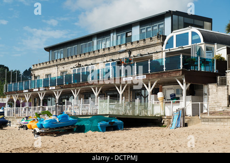 General view of the Bull and Boat a bar and bistro from the beach at Swanage, Dorset - Stock Image