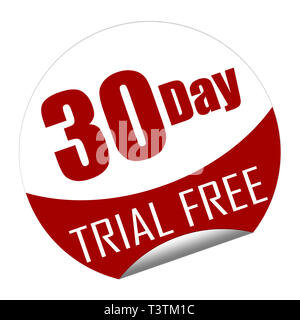 Sticker with the text 30 day trial free isolated on white. - Stock Image