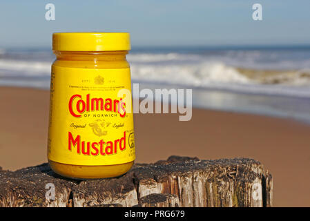 A jar of Colman's Mustard placed on a wooden post on a beach by the sea in North Norfolk, England, United Kingdom, Europe. - Stock Image