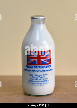 Bottle of Fresh British Milk supplied daily by Local Farmers. Creamline Dairies. - Stock Image