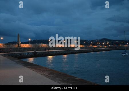 Dun Laoghaire Pier by Dusk - Stock Image