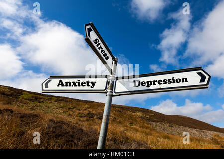 Depression anxiety stress concept sign worry despair mental health problem problems - Stock Image