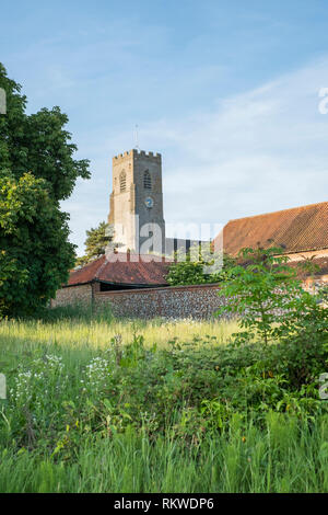 The Church of St Martins at Hindringham in Norfolk. - Stock Image