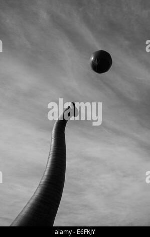 Inflatable elephant trunk and ball in Yokohama - Stock Image
