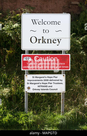 Welcome to Orkney Sign - Stock Image