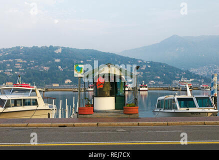 boat ticket booth on Lake Como, Como, Italy - Stock Image
