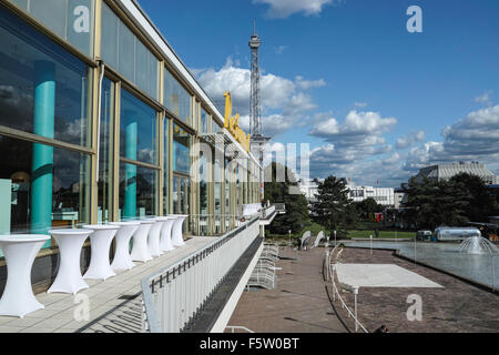Old Restaurant building on the Berlin Messe fairground. Old TV tower in the background. - Stock Image