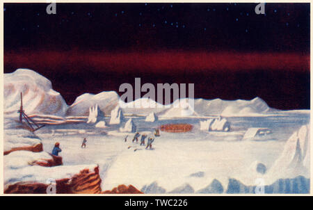 Sir John Ross expedition's first meeting with Eskimos, North Pole expedition, 1800s. Color halftone of a Ross illustration - Stock Image