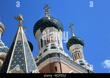 Beautiful Russian Orthodox Church (Cathedral) Of Saint Nicholas In Nice On The French Riviera, France, Europe - Stock Image