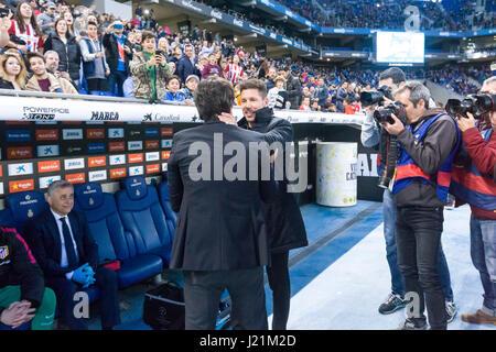 April 22, 2017: Enrique Sanchez Flores and Diego Pablo Simeone during the match between RCD Espanyol vs Atletico - Stock Image