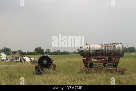 Old aircraft engine that has been dismantled at the Murtala Muhammed Airport, Lagos, Nigeria. - Stock Image