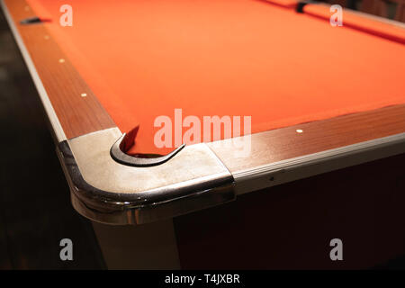 Close up, Vintage pool table in night club, pool snooker billiard concept background. - Stock Image