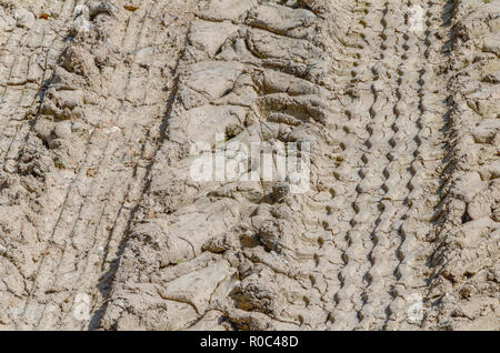 Heavy duty tractor tyre tracks in muddy field. Metaphor getting bogged down. - Stock Image